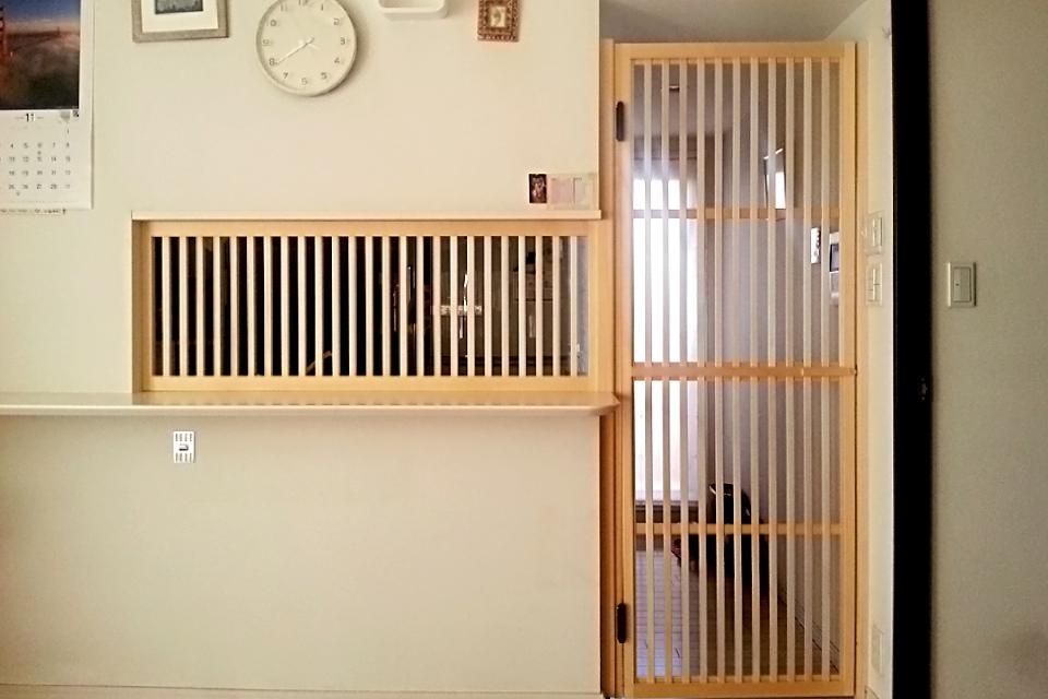 名古屋市千種区 キッチン猫侵入防止柵
